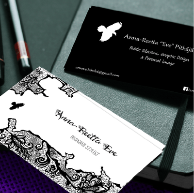 Business cards for a makeup designer